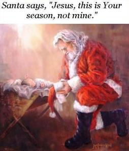 Santa worshipping the infant Savior